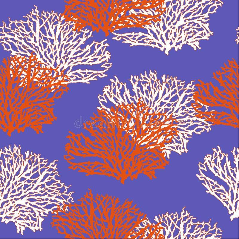 Projeto coral tirado da ilustração do vetor do teste padrão do verão mão sem emenda colorida para forma, tela, papel de parede, W ilustração royalty free