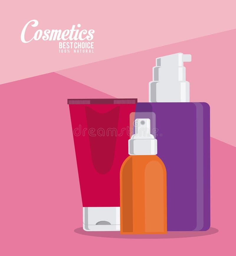 Projeto cosmético Compõe o ícone Conceito do cuidado de pele ilustração do vetor