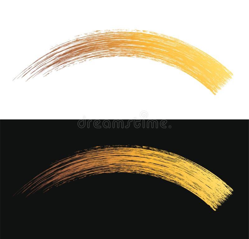 Projeto cosmético da textura do curso da escova do rímel da composição do vetor isolado no branco Molde dourado da mancha do ríme ilustração do vetor