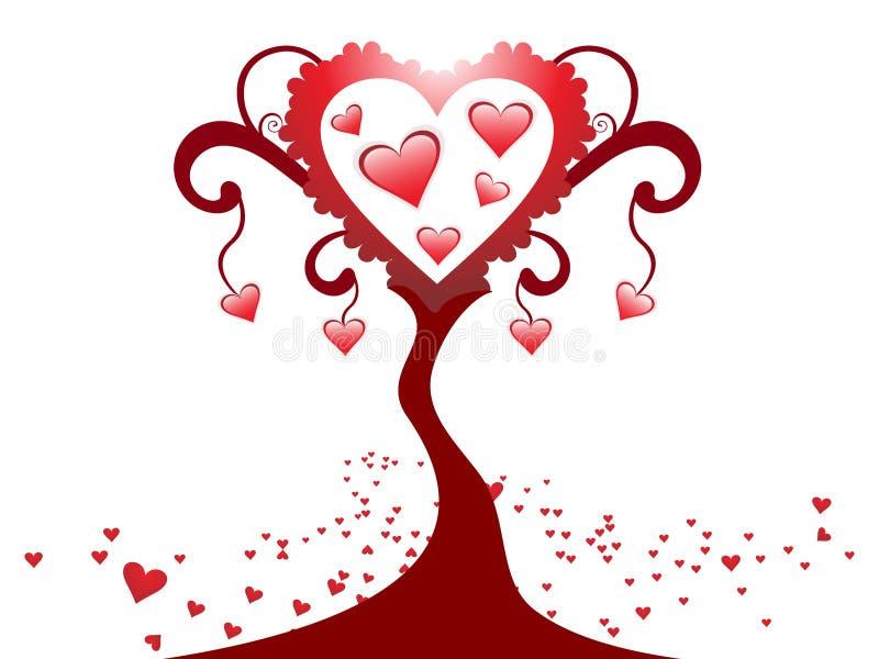 Projeto creativo abstrato da árvore do coração ilustração do vetor