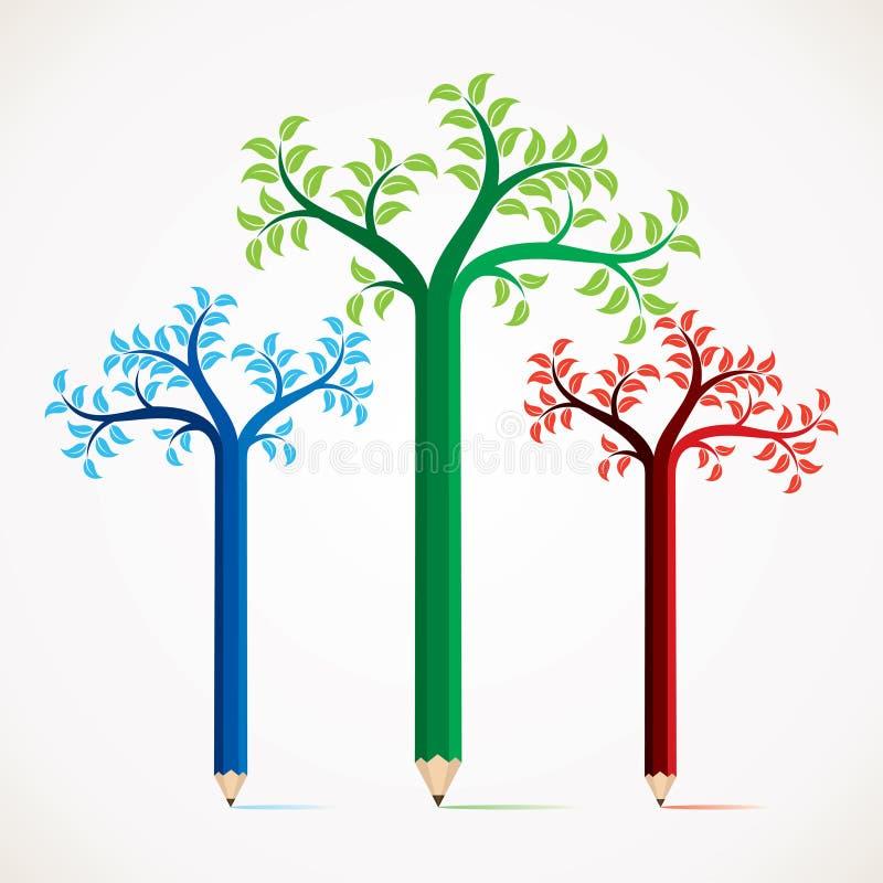 Projeto creativo e colorido da árvore do lápis ilustração do vetor