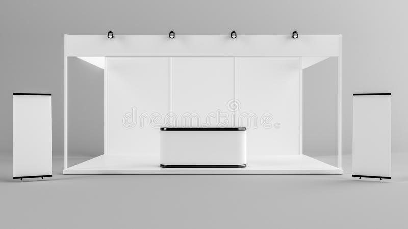 Projeto criativo branco do suporte da exposição Molde da cabine Corporat ilustração royalty free