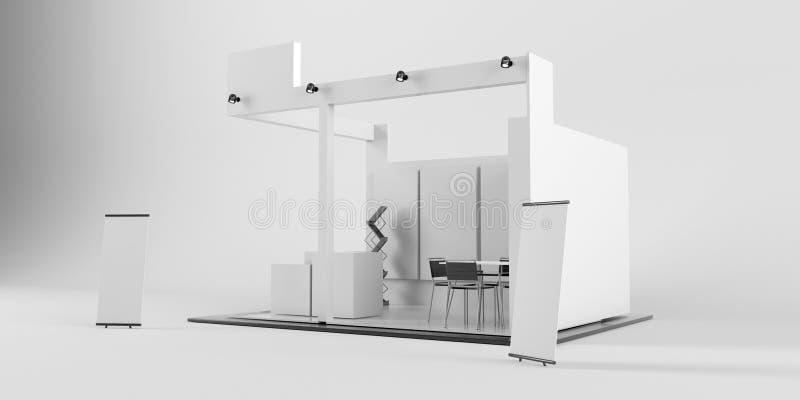 Projeto criativo branco do suporte da exposição Molde da cabine Corporat ilustração stock