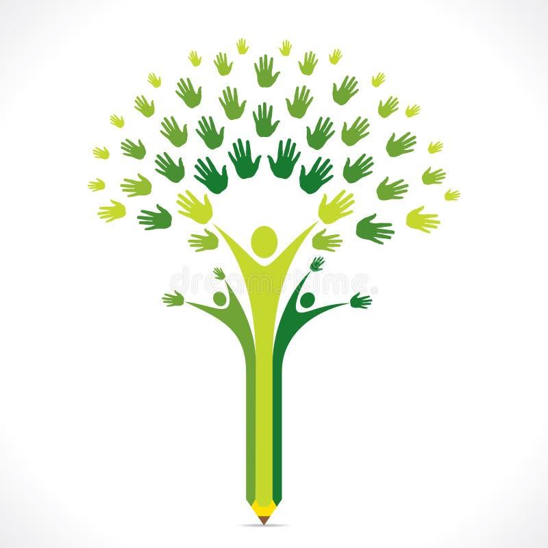Projeto criativo da árvore da mão do lápis das crianças para o apoio ou o conceito de ajuda ilustração royalty free