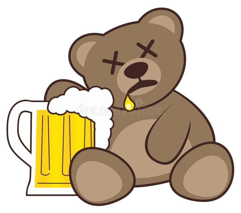Cerveja e urso ilustração stock