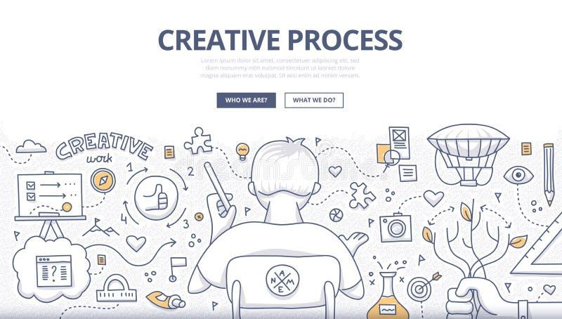 Projeto criativo da garatuja do processo ilustração do vetor