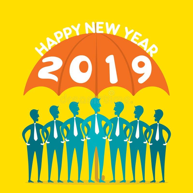 Projeto criativo do ano novo feliz 2019 ilustração do vetor