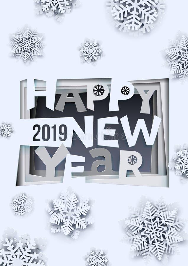 Projeto criativo do ano novo feliz 2019 Arte do ano novo feliz 2019 e estilo de papel do ofício Formato A-4 Ilustração do vetor i ilustração stock