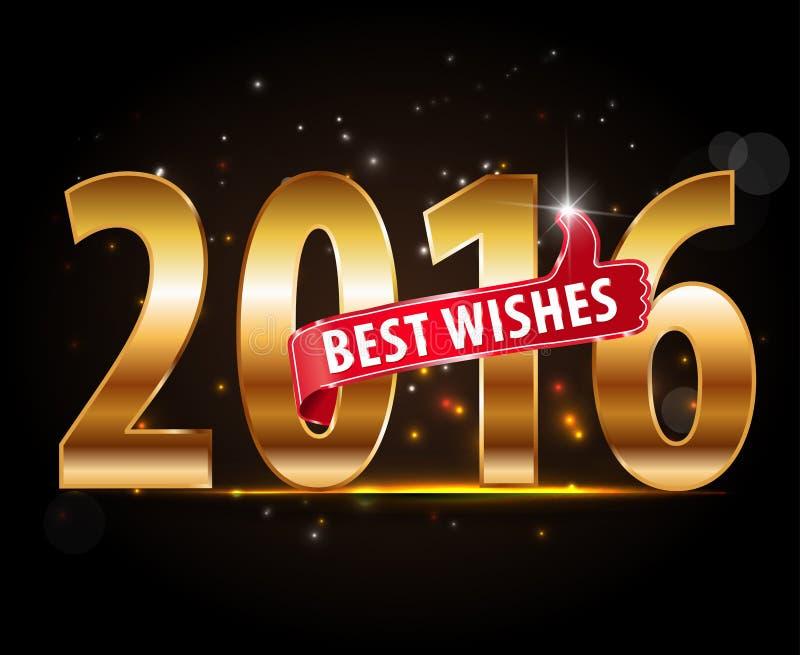 Projeto criativo do ano novo feliz 2016 com tipografia dourada e polegares acima ilustração royalty free