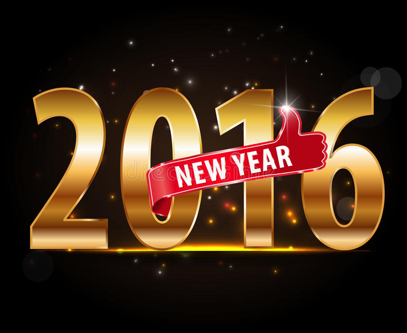 Projeto criativo do ano novo feliz 2016 com tipografia dourada e polegares acima ilustração stock