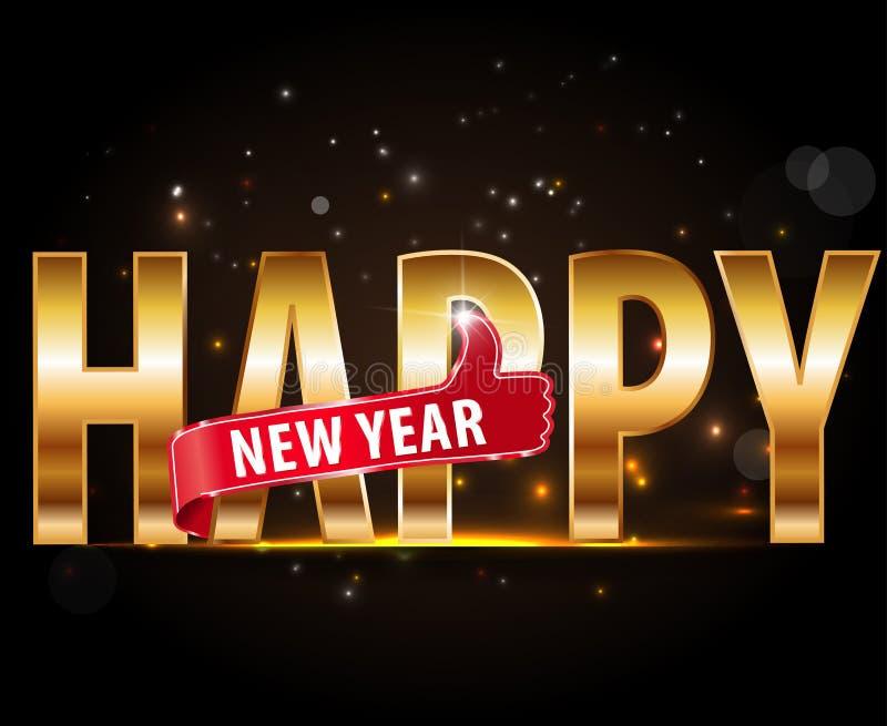 Projeto criativo do ano novo feliz 2016 com tipografia dourada e polegares acima ilustração do vetor