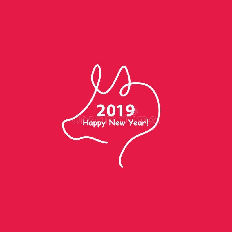 Projeto criativo do ano novo feliz 2019 com uma linha silhueta do projeto do porco Ilustração do vetor do estilo de Minimalistic  ilustração do vetor