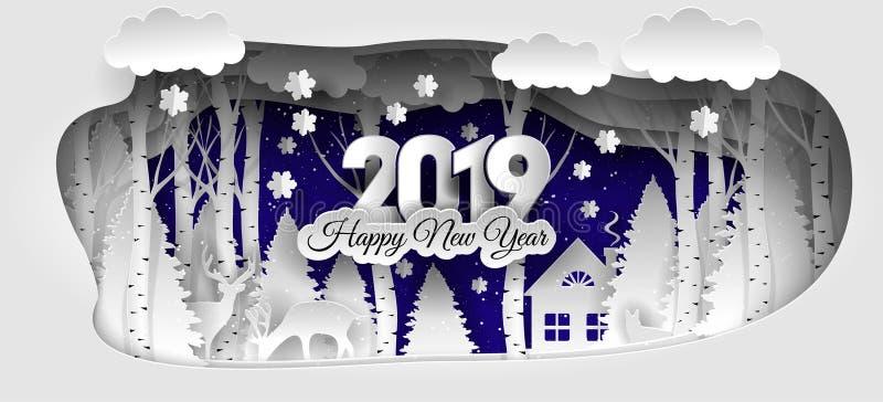 Projeto criativo do ano novo feliz 2019 Ano novo feliz 2019 da floresta do inverno ilustração stock