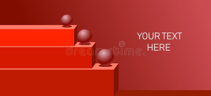 Projeto criativo do fundo do sumário 3D com as barras e as esferas retangulares alongadas nelas ilustração do vetor