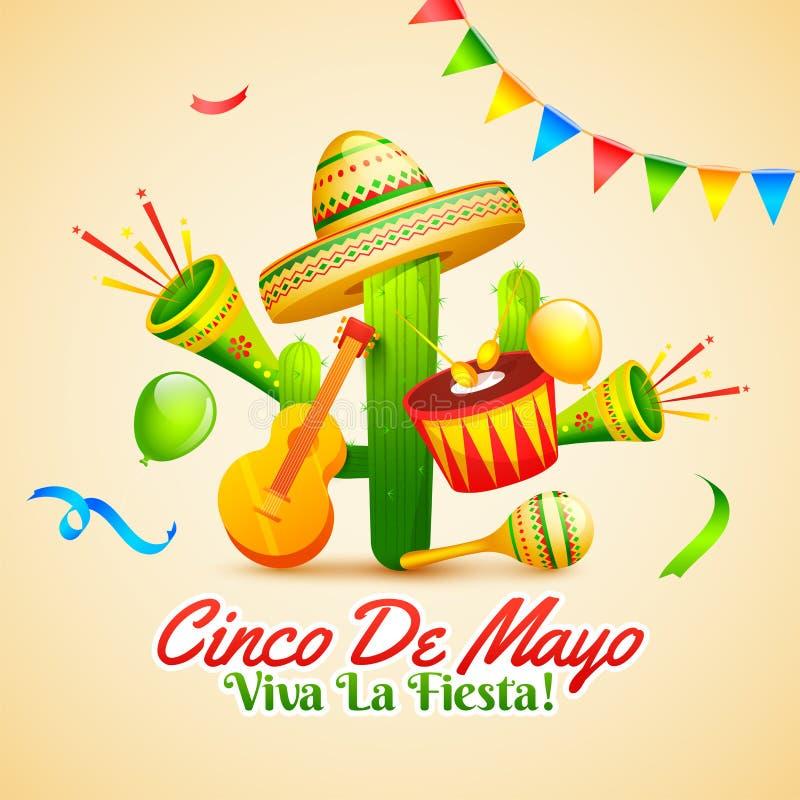 Projeto criativo do inseto do partido da festa com ilustração da guitarra, dos maracas e do chapéu do sombreiro no fundo de creme ilustração stock