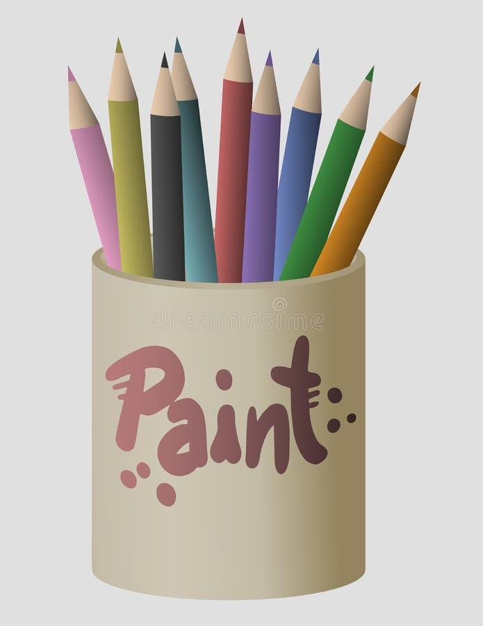 Lápis colorido da pintura ilustração do vetor