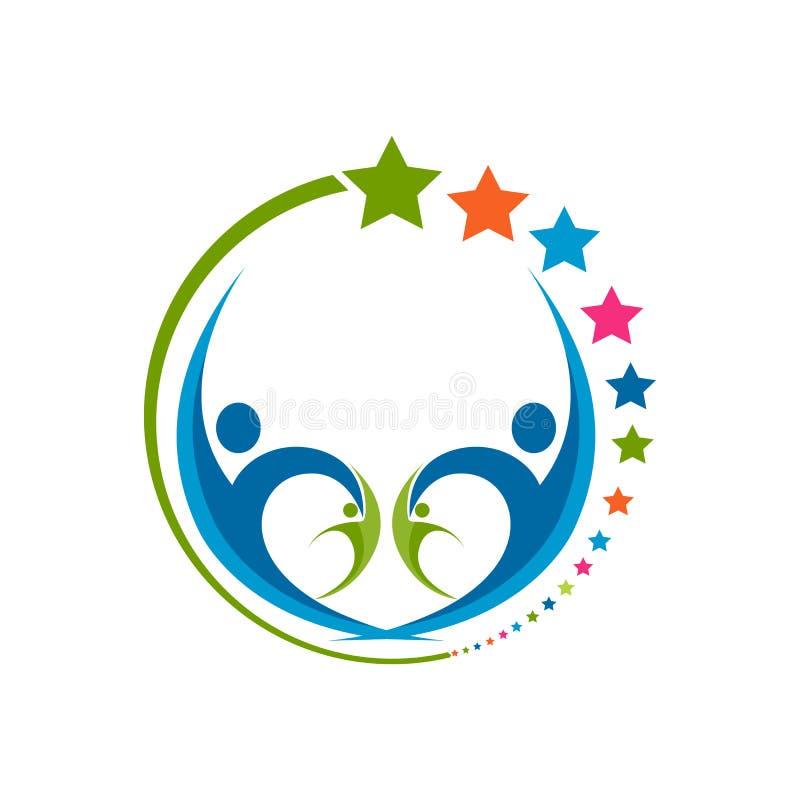 Projeto criativo do logotipo da estrela humana Emb do vetor do sumário dos povos da estrela ilustração royalty free