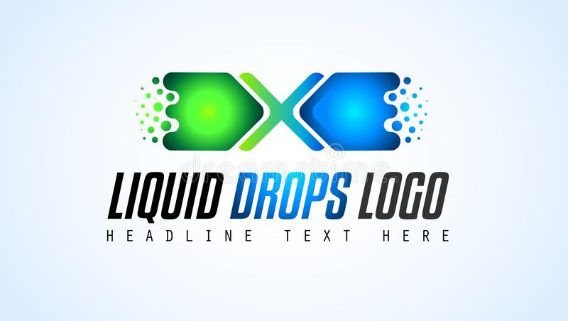 Projeto criativo do logotipo das gotas do líquido para a identidade de marca, PR da empresa ilustração royalty free
