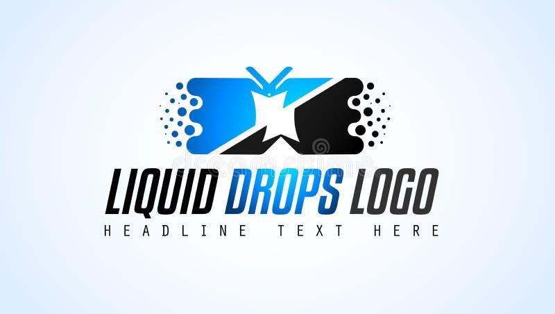 Projeto criativo do logotipo das gotas do líquido para a identidade de marca, PR da empresa ilustração stock