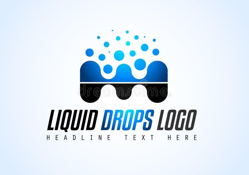 Projeto criativo do logotipo das gotas do líquido para a identidade de marca, PR da empresa ilustração do vetor