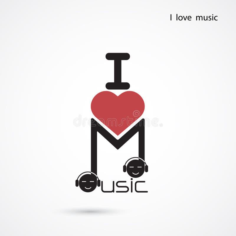Projeto criativo do logotipo do vetor do sumário da nota da música Creativ musical ilustração stock