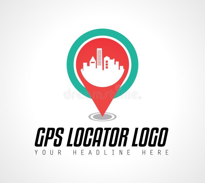 Projeto criativo do logotipo do localizador da cidade de GPS para a identidade de marca, compan ilustração royalty free