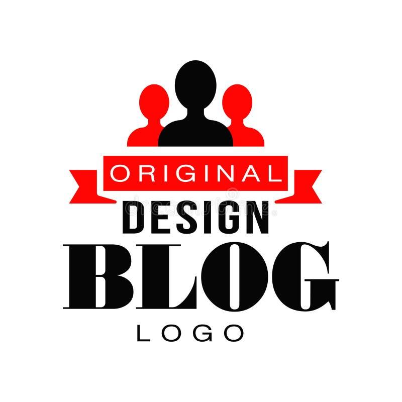 Projeto criativo do logotipo do vlog com silhuetas e fita dos povos ícone vivo do córrego Televisão da Web Etiqueta do vetor para ilustração stock