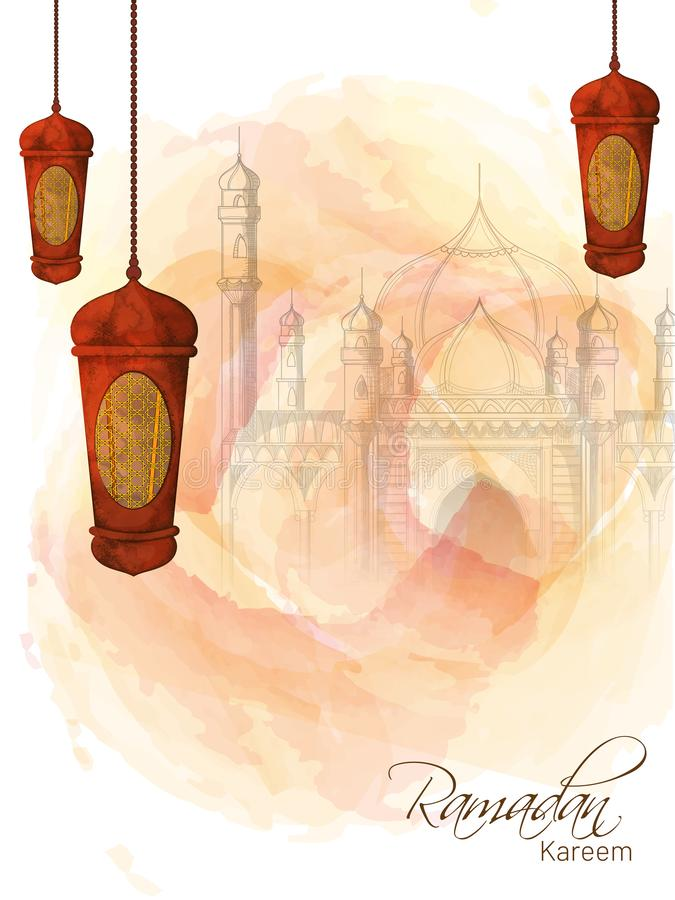 Projeto criativo do molde decorado com lanternas de suspensão e esboço da ilustração da mesquita para Ramadan Mubarak ilustração stock