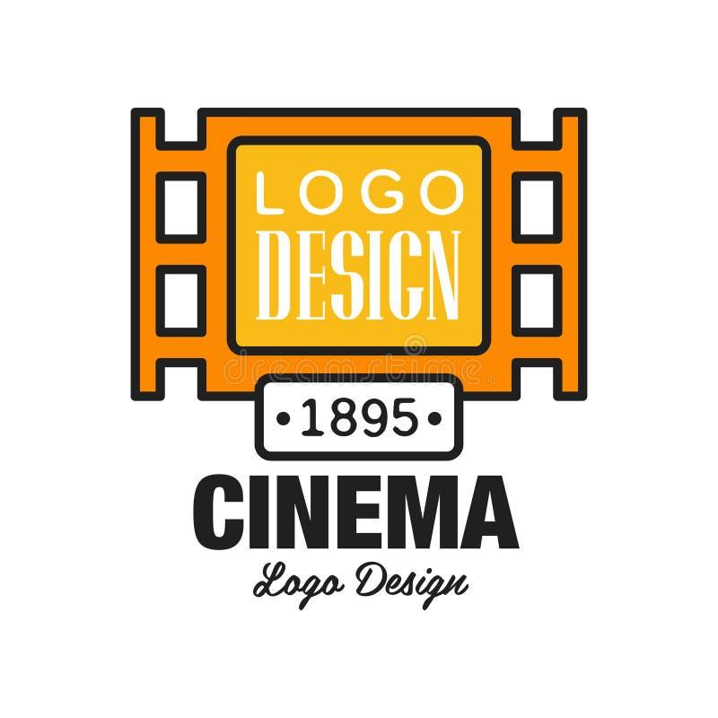 Projeto criativo do molde do logotipo do cinema ou do filme Simbolize o conceito com o diafilme alaranjado e o texto do vintage r ilustração royalty free