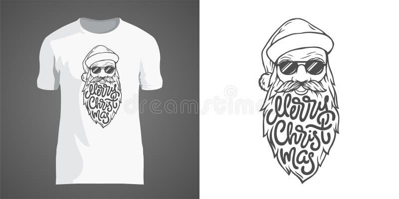 Projeto criativo do t-shirt com ilustração de Santa nos óculos de sol com barba grande Rotulando o Feliz Natal no formulário de ilustração do vetor