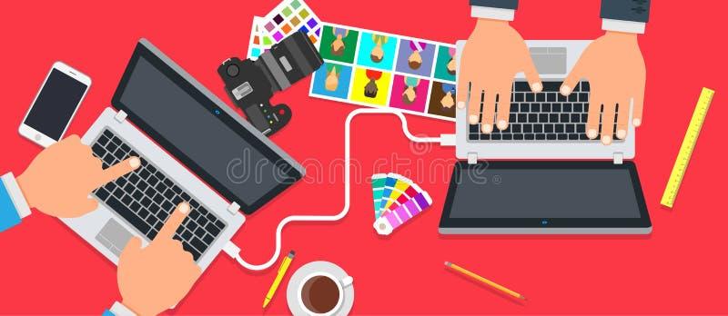 Projeto criativo dos povos da equipe do escritório Fundo do vetor do sucesso dos trabalhos de equipa do negócio Illu do conceito  ilustração stock