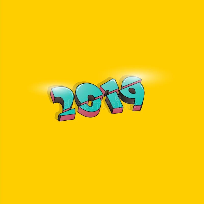 Projeto criativo para seu cartão de cumprimentos, insetos do fundo de 2019 anos novos felizes ou de Natal, convite, cartazes, fol ilustração do vetor
