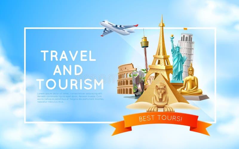 Projeto 3d do cartaz da viagem e do turismo do vetor ilustração royalty free