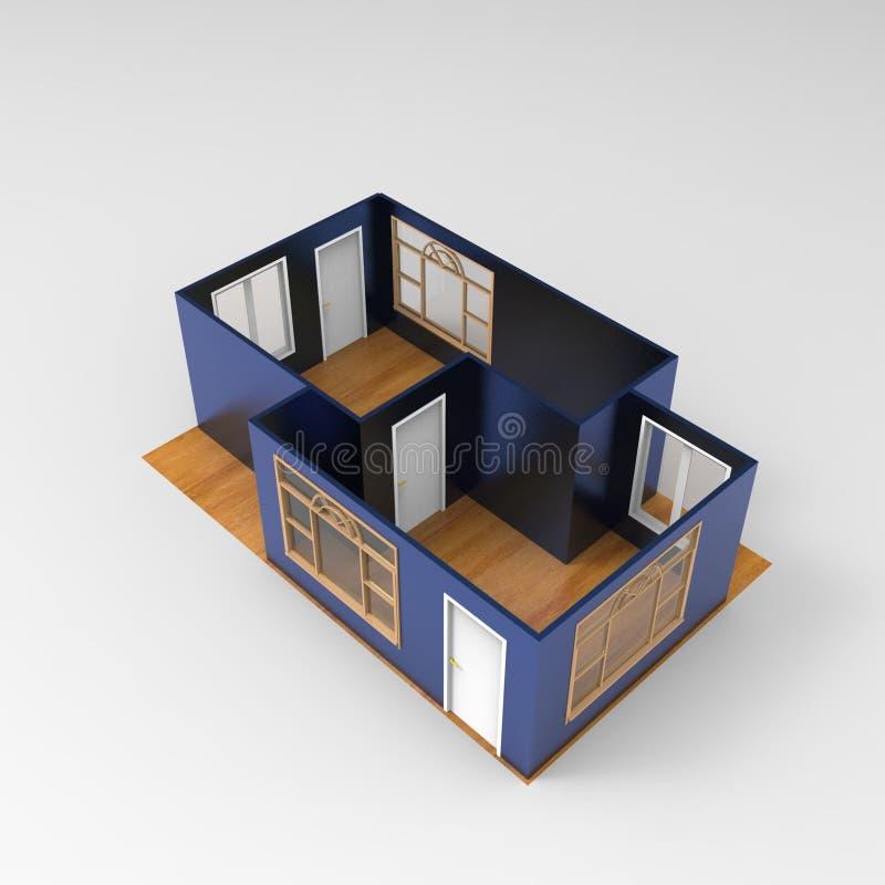 projeto 3D do espa?o da casa que rende resultados da aplica??o do misturador ilustração do vetor