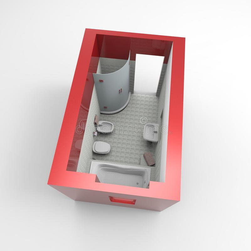 projeto 3D do espa?o da casa que rende resultados da aplica??o do misturador ilustração stock