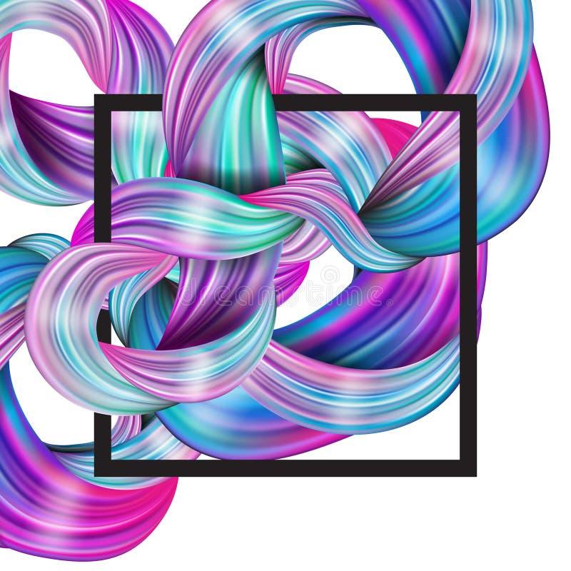 projeto 3d fluido abstrato Fundo moderno colorido com twiste ilustração do vetor
