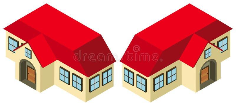 projeto 3D para a casa com telhado vermelho ilustração do vetor