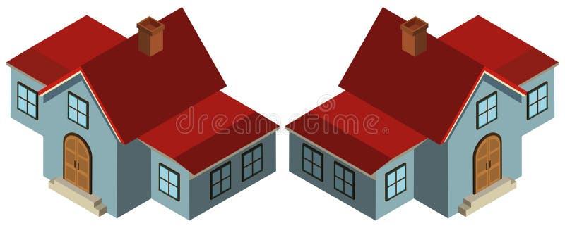 projeto 3D para a casa no azul ilustração do vetor