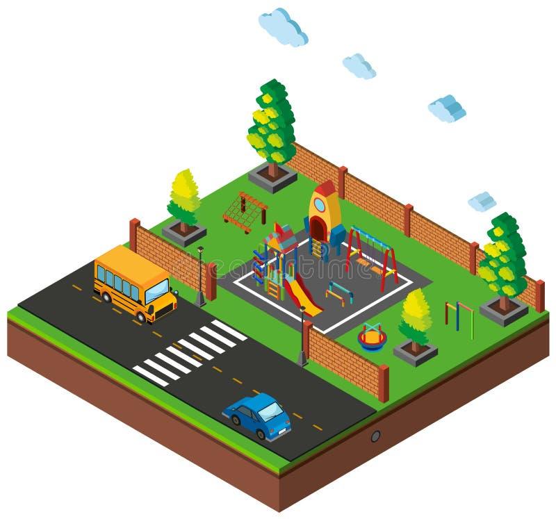 projeto 3D para a cena com campo de jogos e carros na estrada ilustração royalty free