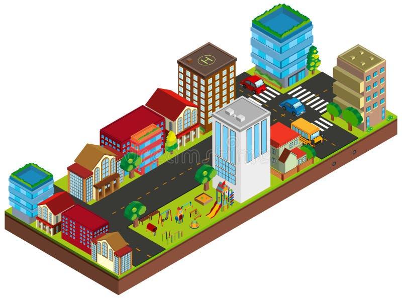 projeto 3D para construções na cidade ilustração do vetor