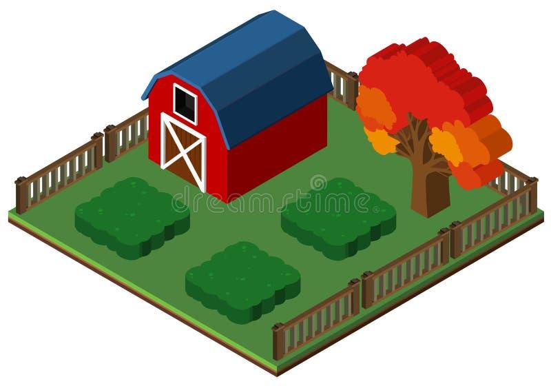 projeto 3D para o celeiro e o jardim vermelhos ilustração do vetor