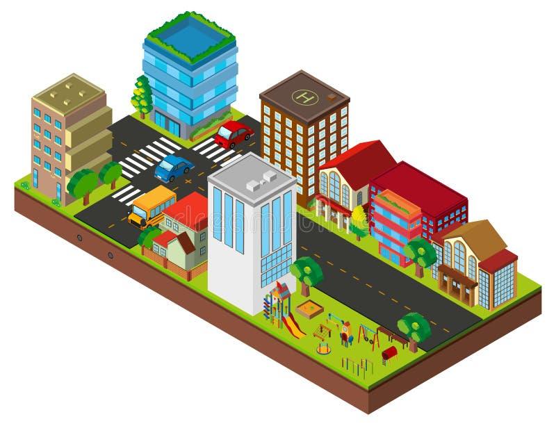 projeto 3D para a rua da cidade com construções ilustração stock
