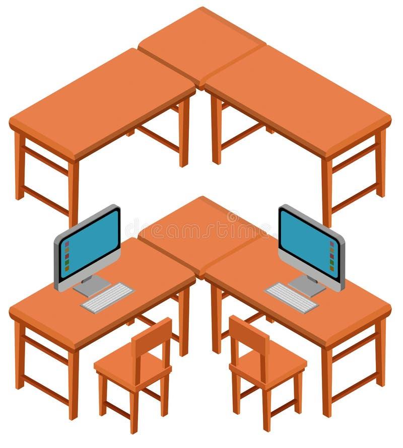 projeto 3D para tabelas e cadeiras ilustração royalty free