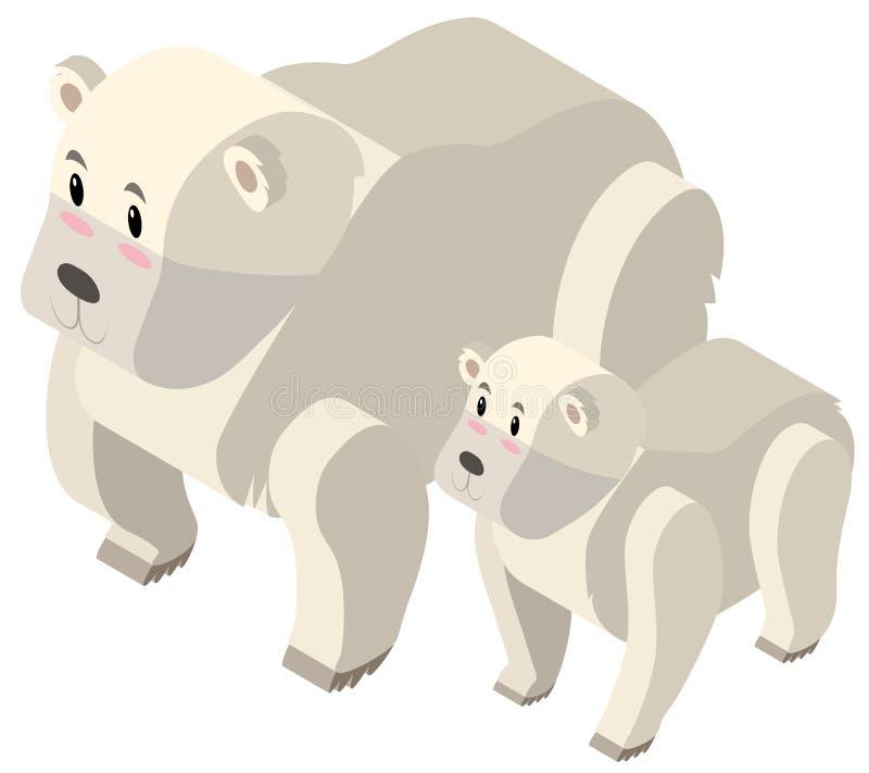 projeto 3D para ursos polares ilustração do vetor