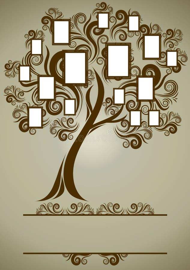Projeto da árvore de família do vetor com frames ilustração royalty free