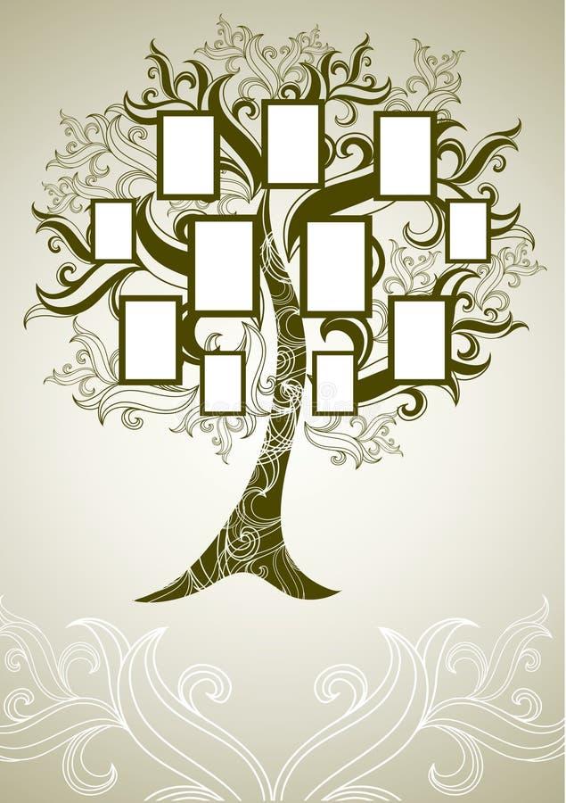 Projeto da árvore de família do vetor com frames ilustração stock
