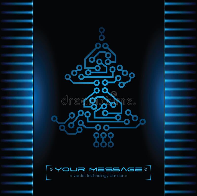 Projeto da árvore de Natal. Fundo da tecnologia. ilustração do vetor