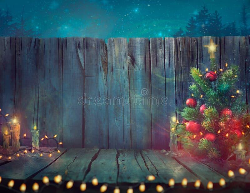 Projeto da árvore de Natal Pranchas de madeira com luzes de Natal e T ilustração do vetor