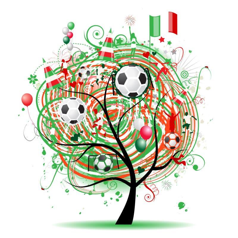 Projeto da árvore do futebol, bandeira mexicana ilustração do vetor