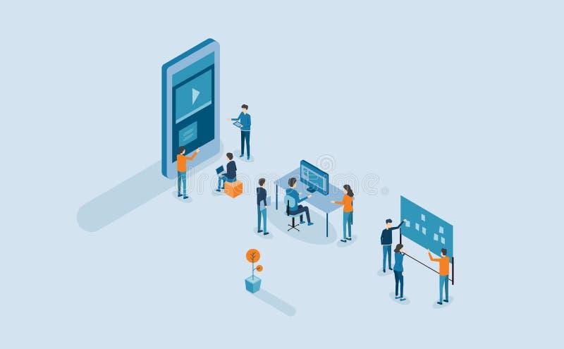 Projeto da aplicação e processo de desenvolvimento móveis ilustração do vetor